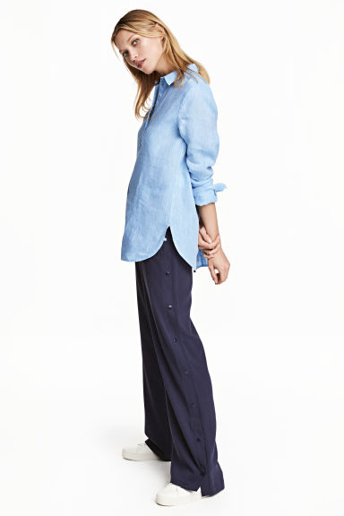 Wide trousers - Dark blue - Ladies | H&M CN