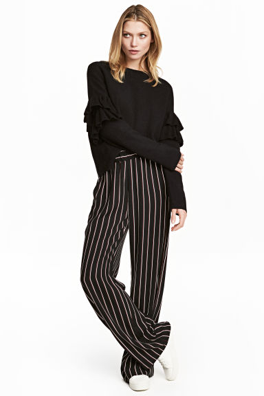 Wide pull-on trousers - Black/Striped -  | H&M CA