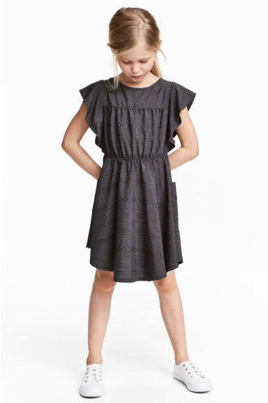 Textured dress - Dark grey -  | H&M CN 1