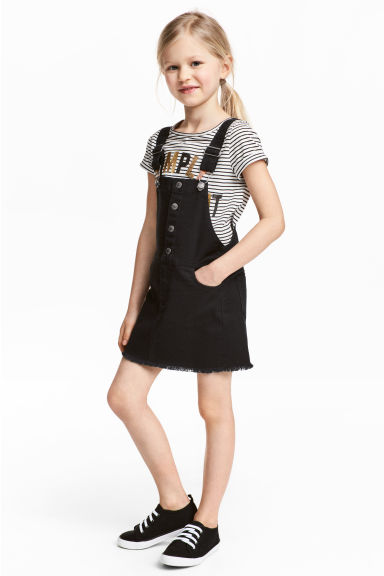 Dungaree dress - Black - Kids | H&M 1