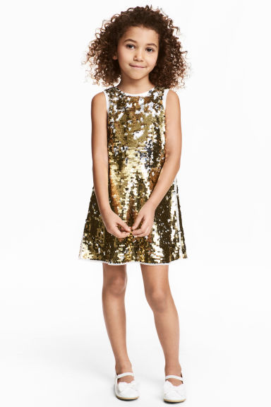 Sequined dress - Gold/White - Kids | H&M