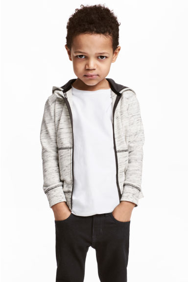 Hooded jacket - Natural white marl - Kids | H&M CN 1