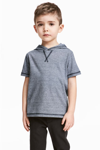 Hooded T-shirt - Dark blue/Narrow striped - Kids | H&M 1
