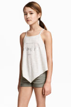Printed strappy top - Light beige marl - Kids | H&M 1