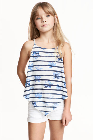 Top con stampa - Bianco/blu scuro righe -  | H&M IT