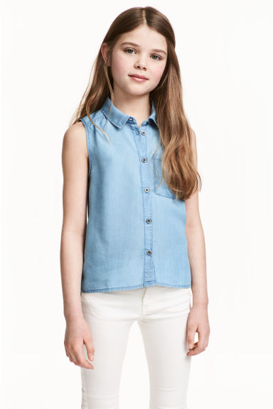 Sleeveless blouse - Blue -  | H&M 1