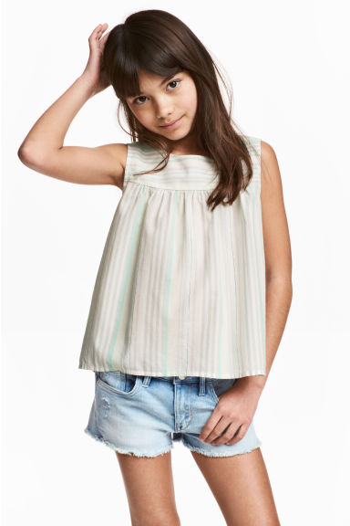 Open-back top - Light grey/Striped - Kids | H&M CN 1