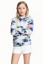 Hooded top with a text motif - Light grey/Floral -  | H&M CN 1