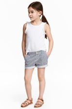 Cotton shorts - Dark blue/Striped - Kids | H&M 1