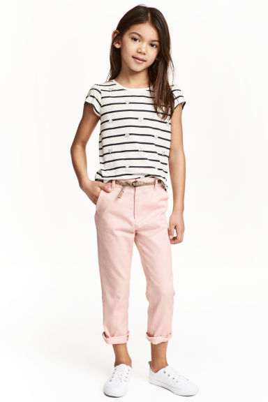 Cotton twill chinos - Light pink - Kids | H&M