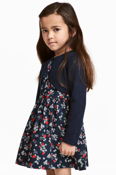 Fine-knit bolero cardigan - Dark blue - Kids | H&M 1