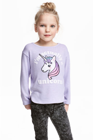 Jumper with a print motif - Purple/Unicorn -  | H&M 1