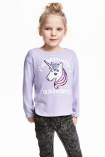 Jumper with a print motif - Purple/Unicorn - Kids | H&M CN 1