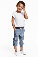 3/4-length pull-on trousers - Denim blue/Hearts - Kids | H&M CN 1