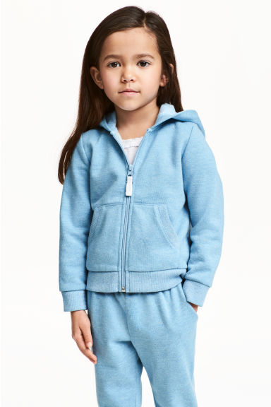 Sweat-shirt à capuche zippé - Bleu/scintillant -  | H&M BE
