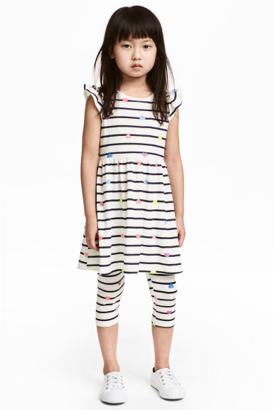 3/4-length leggings - White/Striped - Kids | H&M 1