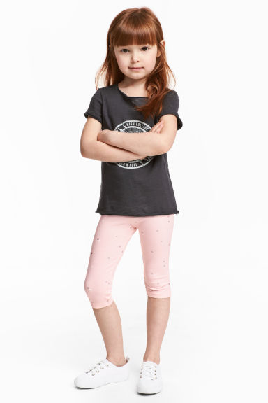 七分內搭褲 - Light pink/Heart - Kids | H&M 1