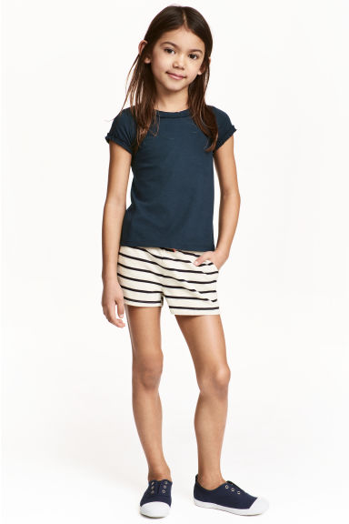 Jersey shorts - Natural white/Striped - Kids | H&M CA