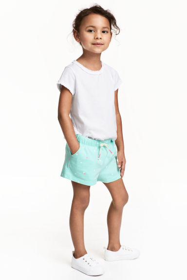 Jersey shorts - Mint green/Heart - Kids | H&M