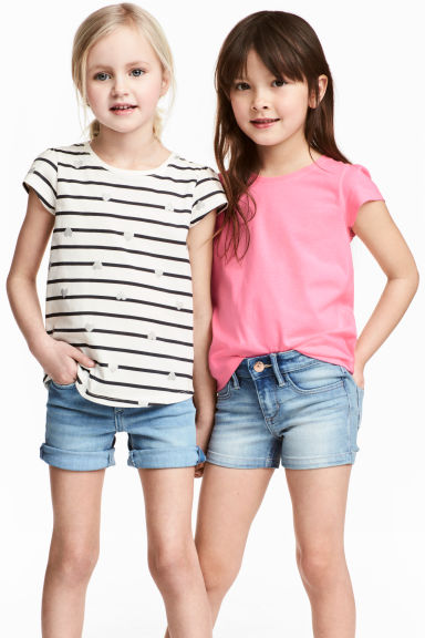 2-pack jersey tops - Natural white/Striped -  | H&M CN 1