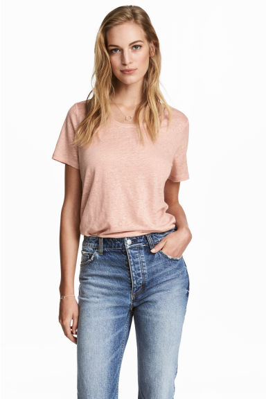 Linen round-neck top - Powder pink - Ladies | H&M 1