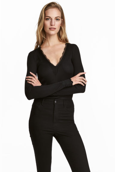 Top a costine - Nero - DONNA | H&M IT 1
