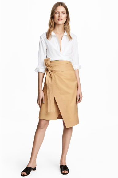 Cotton wrapover skirt - Beige - Ladies | H&M 1