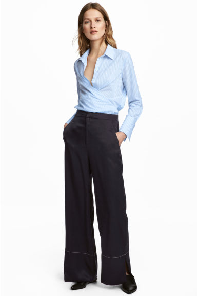 Wide silk trousers
