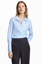 Cotton wrapover shirt - Light blue/Striped - Ladies | H&M 1