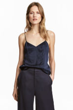 Top in seta con scollo a V - Blu scuro -  | H&M IT 1