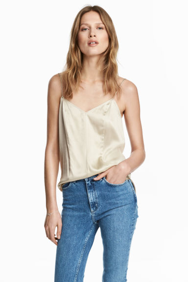 Silk V-neck camisole - Light beige - Ladies | H&M CN 1
