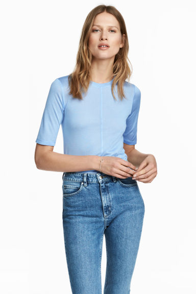 Silk top - Light blue - Ladies | H&M CA 1