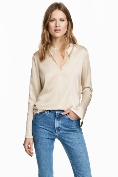 真絲女衫 - Light beige - Ladies | H&M