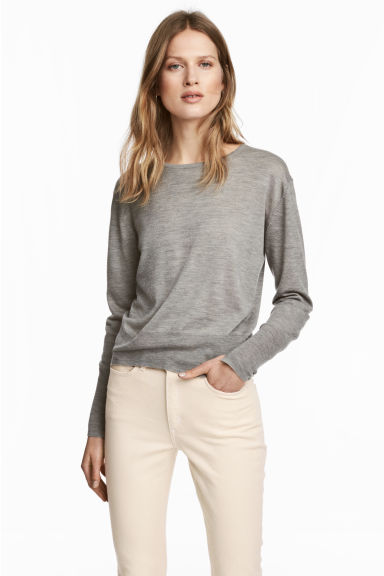 Cashmere-blend jumper - Grey marl - Ladies | H&M CN 1