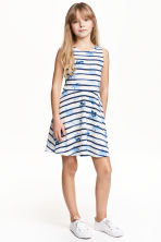 Jersey dress - White/Dark blue/Striped - Kids | H&M CN 1