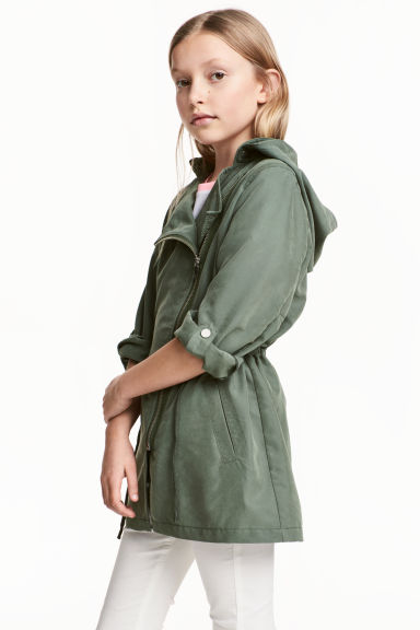 Parka with a hood - Khaki green - Kids | H&M 1