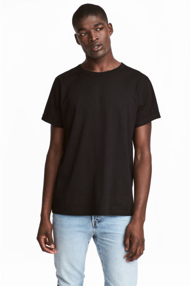 Slub jersey T-shirt - Black - Men | H&M