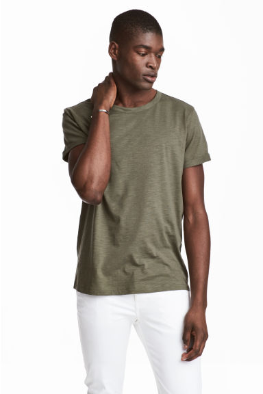 Slub jersey T-shirt - Khaki green - Men | H&M 1