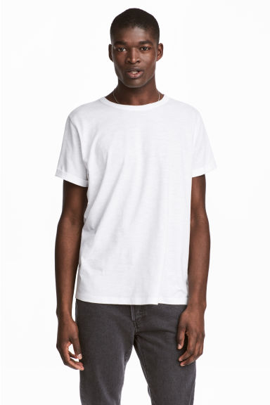 粗紡平紋T恤 - White - Men | H&M