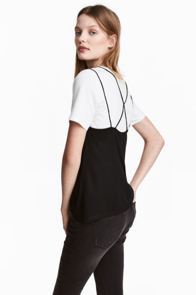 Strappy jersey top - Black - Ladies | H&M CN 1