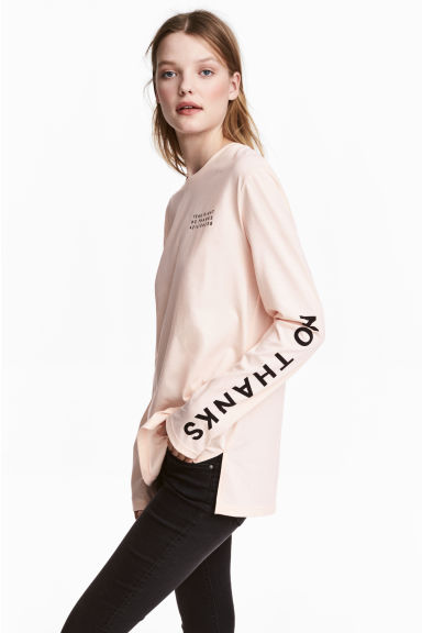 Long-sleeved T-shirt - Powder pink - Ladies | H&M CN 1