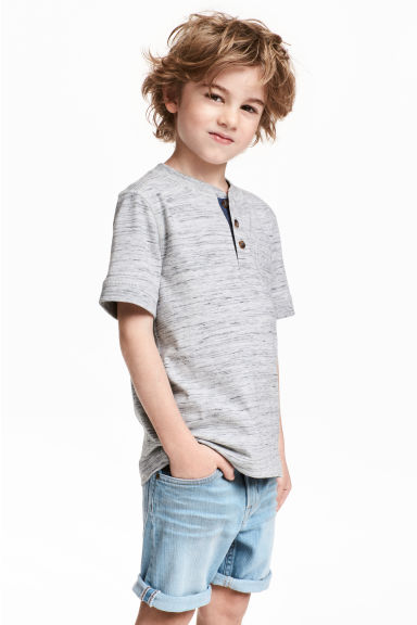 Henley shirt - Light grey marl - Kids | H&M 1
