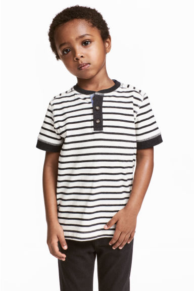 Henley shirt - Black/White/Striped -  | H&M CA 1