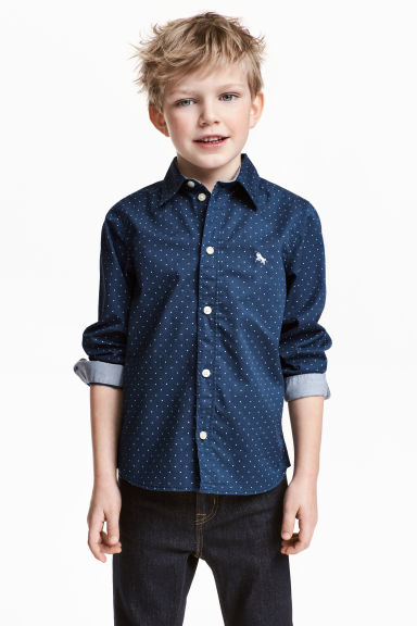 Cotton shirt - Dark blue/Anchor - Kids | H&M 1