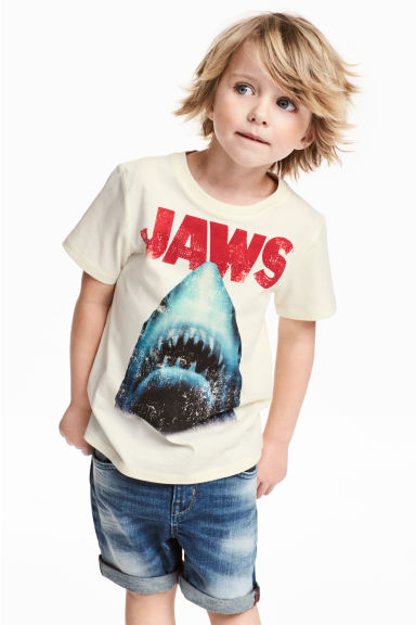 Printed T-shirt - Natural white/Jaws -  | H&M