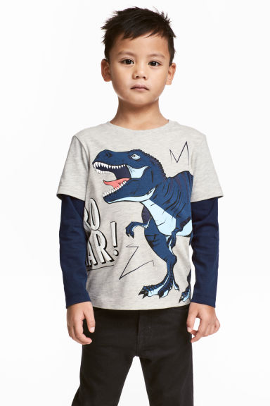 Long-sleeved T-shirt - Light beige/Dinosaur - Kids | H&M 1