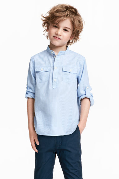 Cotton grandad shirt - Light blue/Striped -  | H&M 1