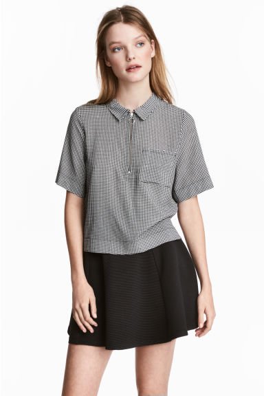 Camicia a maniche corte - Nero/bianco/quadri - DONNA | H&M IT 1