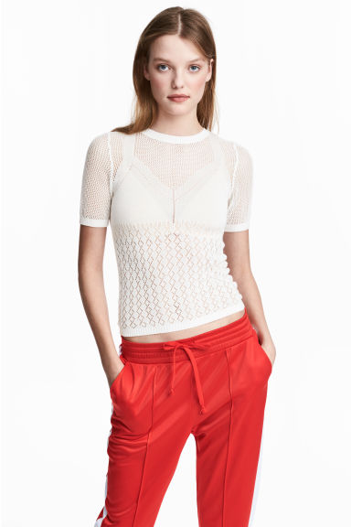 Pointelle top - White - Ladies | H&M CN 1
