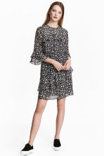 Flounced dress - Black/Small floral - Ladies | H&M 1
